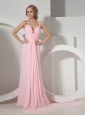 Customize Baby Pink Prom Dress With Halter Neckline Brush Train Chiffon