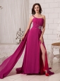 Fuchsia Empire Beaded Decorate Shoulder One Shoulder Watteau Train Prom Gowns For Custom Made