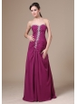 Fuchsia Floor-length Prom Dress For Prom With Beaded Decorate