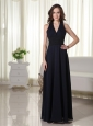 Halter Column / Sheath Chiffon Lace Prom Dress Navy Blue Floor-length
