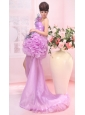 Hand Made Flower One Shoulder High Slit Brush Train Lavender Organza 2013 Prom / Evening Dress