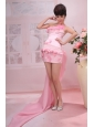 Hand Made Flowers and Beading Decorate Bodice Coumn Pink 2013 Prom Dress