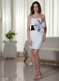 Handle-Made Flowers Column / Sheath Strapless Mini-length Organza 2013 Prom Dress White
