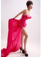 Hot Pink Beading Column / Sheath Watteau Taffeta Strapless Prom Dress