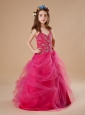 Hot Pink Halter Beading Tulle A-Line Flower Girl Dress Floor-length