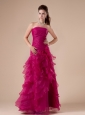 Hot Pink Hand Made Flowers Strapless Ruch and Ruffles Floor-length 2013 Prom / Evening Dress