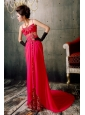 Hot Pink Spaghetti Straps Appliques With Beading Prom / Evening Dress With Court Train