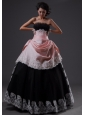 Lace Decorate Bodice Strapless Floor-length Light Pink and Black A-line Quinceanera Dress For 2013