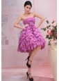 Lavender A-line Appliques Strapless Knee-length Chiffon Ruffles Stylish Prom Gowns