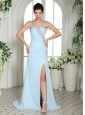 Light Blue High Slit Spaghetti Straps Beaded Over Bodice Prom Dress With Brush Train