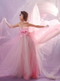 Luxurious Baby Pink Spaghetti Straps Prom Celebrity Dress With Hand Made Flowers