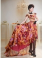 Multi-color Printing Beaded High-low Prom Dress For Custom Made