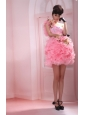One Shoulder Beading Organza Column / Sheath Mini-length Prom Dress Pink