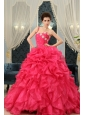 One Shoulder Coral Red A-line Appliques And Ruffles Quinceanera Dress For 2013 Custom Made