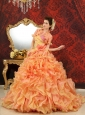 One Shoulder Multi-Color Ball Gown Hand Made Flowers Organza Modern Quinceanera Dress