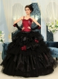 One Shoulder Wine Red And Black Ball Gown Hand Made Flowers Organza Ruffles Quinceanera Dress For Custom Made
