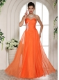 Orange Red Appliques Decorate Stylish Prom Celebrity Dress With Sweetheart