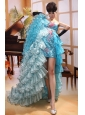 Paillette Over Skirt Aqua Blue Strapless Ruffles Prom Gowns With Organza Court Train Custom Made
