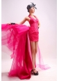 Prom Dress Halter Watteau Tulle Sequins Hot Pink Column / Sheath