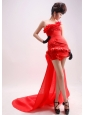 Red Column / Sheath Watteau Organza Strapless Beading Prom Dress