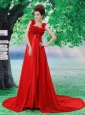 Red Flowers Decorate Prom Dress With Lace Sequare Neckline