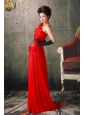 Red One Shoulder Beaded and Hand Made Fowers Prom Dress With Brush Train