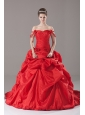 Red Taffeta Off The Shoulder Handle-Made Flower Ball Gown Court Train Quinceanera Dress
