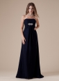 Sexy Brush Train Ruch and Beaded Decorate Prom Dress With Strapless Neckline Navy Blue Chiffon
