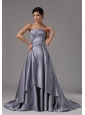 Strapless Elastic Woven Satin A-Line / Princess Brush Train 2013 Prom Dress Ruched