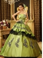 Strapless Olive Green Beaded Appliques Taffeta Court Train Custom Made Quinceanera Dress