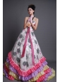 Strapless Organza Multi-color Brush Train Hand Made Flower Beading 2013 Prom / Evening Dress