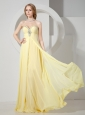 Sweetheart Beaded Decorate Yellow Prom Dress With Chiffon Floor-length