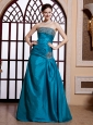 Teal Blue A-line Taffeta Strapless Beaded New Style 2013 Prom Gowns Custom Made