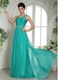 Wholesale Turquoise One Shoulder Prom Celebrity Dress With Ruch and Beading