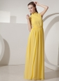 Yellow High-neck Empire Prom Dress Floor-length Chiffon