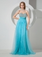 2013 Aqua Blue Sweetheart Beaded Brush Train Prom / Evening Dress For Custom Made