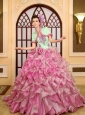 2013 Ruffles Appliques For Green and Rose Pink Quinceanera Dress With Jacket Brush Train
