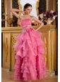 Appliques and Hand Made Flowers Ruffles Layers Decorate Bodice Pink Prom / Evening Dress