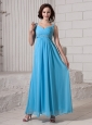Baby Blue Empire Straps Beaded Decorate Shoulder Elegant Custom Made 2013 Prom Gowns