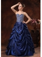Beaded Decorate Bodice Pick-ups A-line Floor-length Navy Blue Quinceanera Dress For 2013