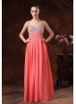 Beaded Decorate Straps and Bust Ruch Watermelon Red Chiffon Floor-length 2013 Prom / Evening Dress