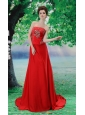 Beading Chiffon A-Line Red Court Train Strapless Prom Dress