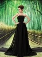 Beading Empire Black Chiffon Watteau Strapless Prom Dress