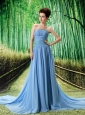 Beading Empire Light Blue Chiffon Watteau Strapless Prom Dress