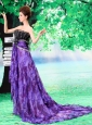 Beading Empire Organza Strapless Court Train 2013 Prom Dress