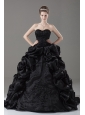Black Embroidery Sweetheart Lace-up Ball Gown Brush / Sweep Quinceanera Dress