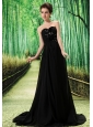 Black Stylish El Tigre Prom Dress Hand Made Flower and Ruch