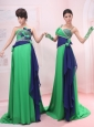 Bowknot Empire Strapless and Straps Chiffon Green Brush / Sweep Prom Dress