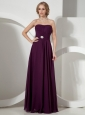 Burgundy Strapless Neckline Mother Of The ride Dress With Beaded Decorate