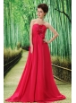 Coral Red Prom Dress Hand Made Flower and Ruch In Graduation